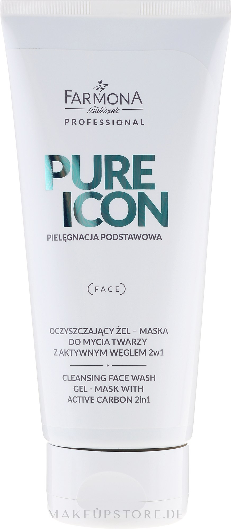 2in1 reinigende Gelmaske für das Gesicht mit Aktivkohle - Farmona Professional Pure Icon Cleansing Face Wash Gel-Mask — Bild 200 ml