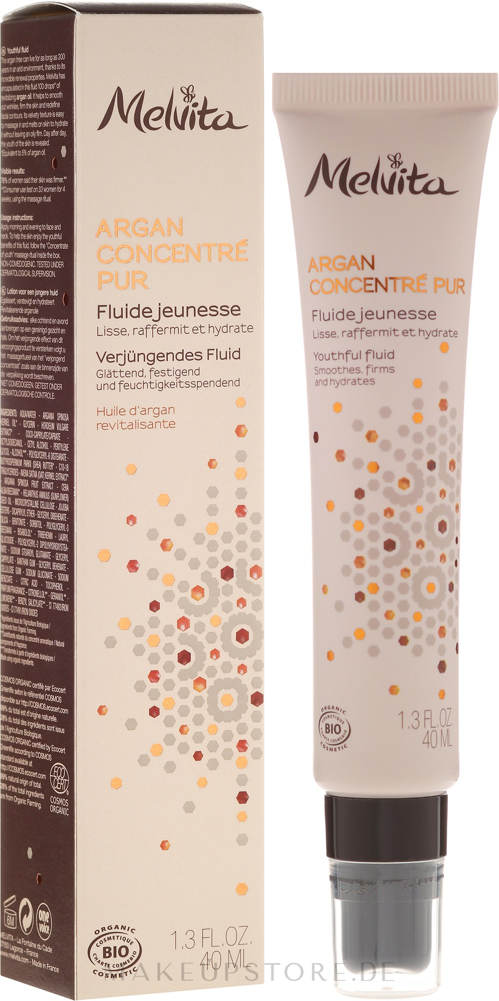 Fechtigkeitsspendende Make-up Base - Melvita Argan Concentre Pur Fluid — Bild 40 ml