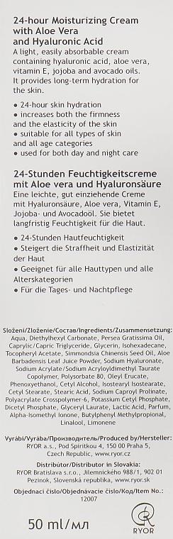 Feuchtigkeitsspendende Gesichtscreme mit Aloe Vera und Hyaluronsäure - Ryor 24-hour Moisturizing Cream Aloe Vera — Bild N3
