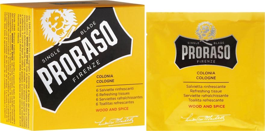 Erfrischende Feuchttücher für Gesicht und Bart mit Gewürze-und Holzduft - Proraso Wood & Spice Refreshing Tissues — Bild N1