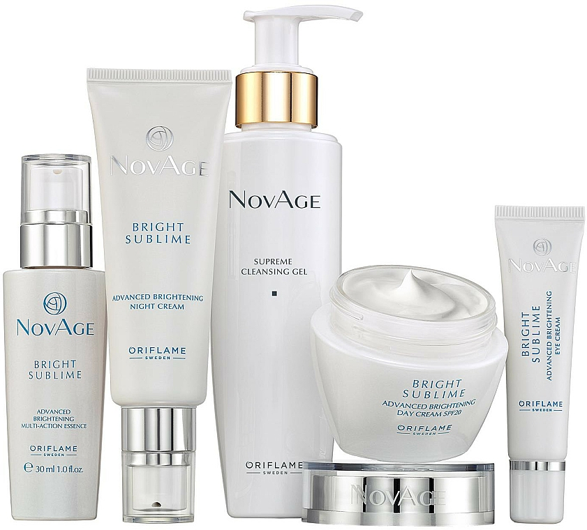 Gesichtspflegeset - Oriflame NovAge Bright Sublime (Gel 200ml+Augencreme cr 15ml+Serum 30ml+Tagescreme 50ml+Nactcreme 50ml)
