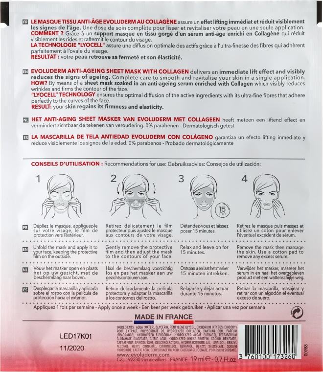 Anti-Aging Gesichtsmaske - Evoluderm Anti-Age Sheet Mask — Bild N2