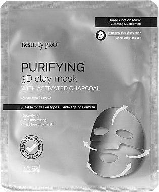 Reinigende 3D-Tuchmaske mit Tonerde und Aktivkohle - BeautyPro Purifying 3D Clay Mask with Activated Charcoal — Bild N1
