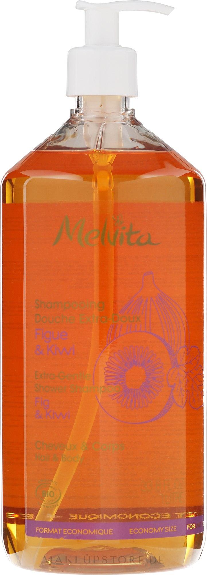 Extra sanftes Haar- und Körpershampoo mit Extrakten aus Feige und Kiwi - Melvita Extra-Gentle Shower Shampoo — Bild 1000 ml