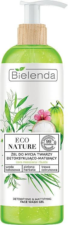 Mattierendes und entgiftendes Gesichtsreinigungsgel mit Kokoswasser, grünem Tee und Zitronengras - Bielenda Eco Nature Coconut Water Green Tea & Lemongrass Detox & Mattifyng Face Wash Gel