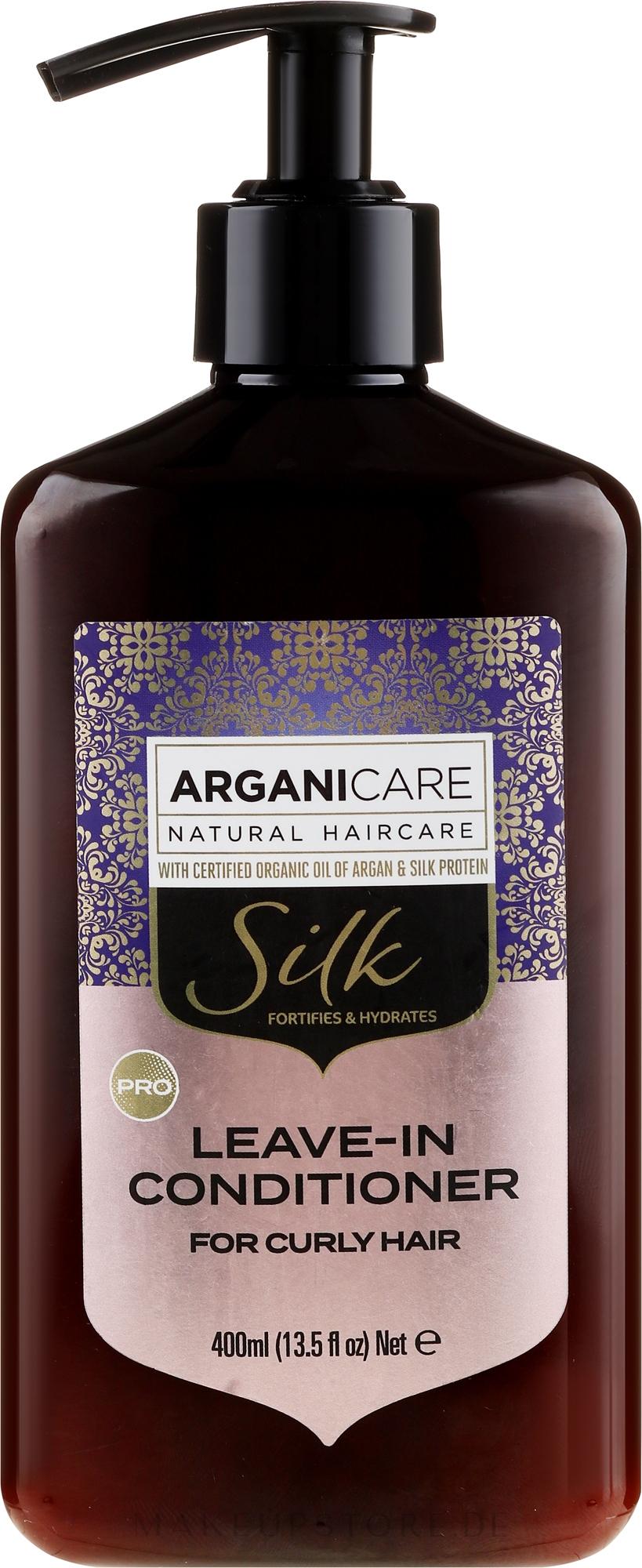 Haarspülung mit Seidenproteinen für lockiges Haar - Arganicare Silk Leave-In Conditioner For Curly Hair — Bild 400 ml