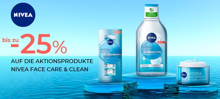 Bis zu 25% auf die Aktionsprodukte Nivea Face Care & Clean. Die Preise auf der Website sind inklusive Rabatt