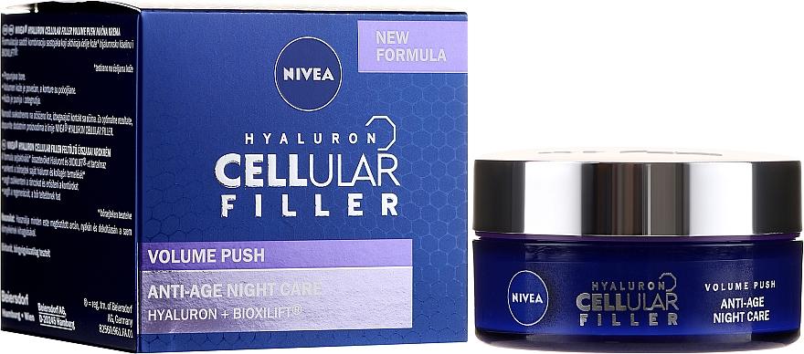 Zellerneuernde Anti-Aging Nachtcreme mit Kollagen und Hyaluronsäure - Nivea Hyaluron Cellular Filler Night Cream