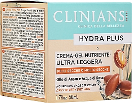 Düfte, Parfümerie und Kosmetik Ultra leichtes nährendes Gesichtscreme-Gel mit Arganöl für trockene Haut - Clinians Hydra Plus Nourishing Face Gel Cream Dry Skin