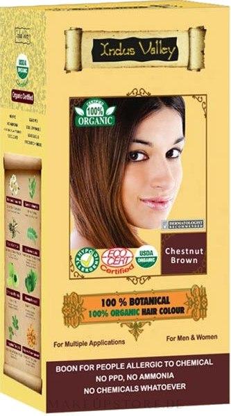 100% Haarfarbe aus 8 zertifizierten Bio-Kräutern - Indus Valley 100% Botanical Hair Colour — Bild Chestnut Brown