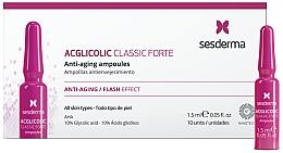 Düfte, Parfümerie und Kosmetik Verjüngendes Anti-Aging Gesichtsserum in Ampullen mit 10% Glykolsäure - SesDerma Laboratories Acglicolic Classic Forte Anti-Aging Ampoules