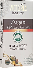 Düfte, Parfümerie und Kosmetik Wachsstreifen zur Körper- und Fußenthaarung mit Arganöl - Victoria Beauty Delicate Skin Care Legs & Body Waxing Strips Argan