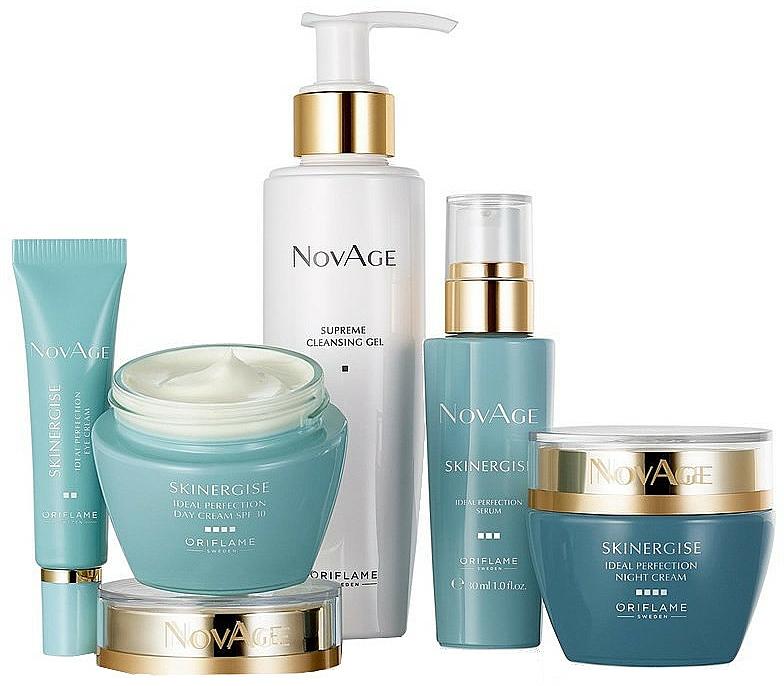 Gesichtspflegeset - Oriflame NovAge Skinergise Set (Reinigungsgel-Tonic 150ml + Augencreme 15ml + Gesichtsserum 30ml + Tagescreme 50ml + Nachtcreme 50ml)