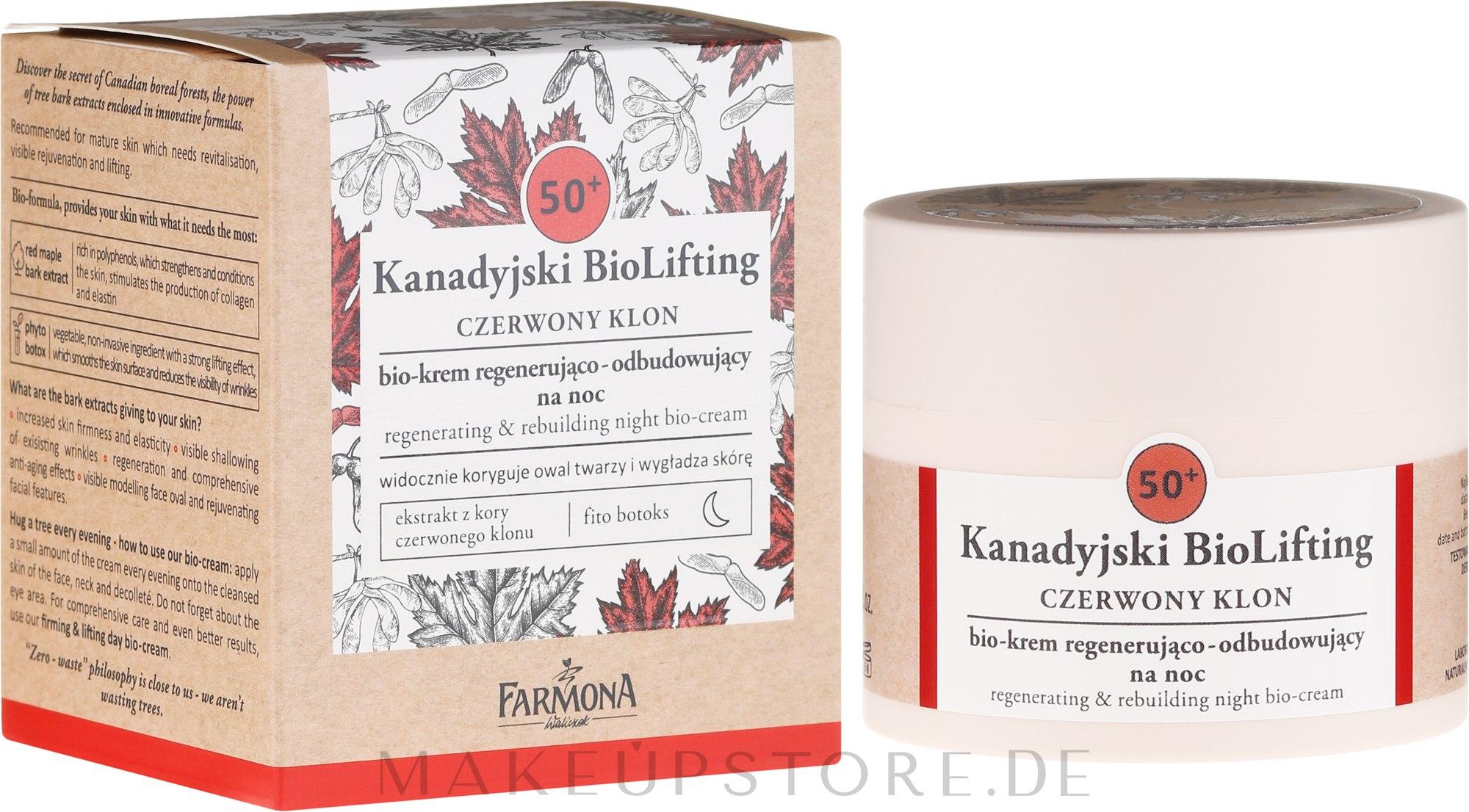 Regenerierende Gesichtscreme 50+ - Farmona Canadian BioLifting Red Maple — Bild 50 ml