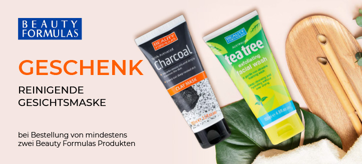 Bei Bestellung von mindestens zwei Beauty Formulas Produkten bekommen Sie eine reinigende Gesichtsmaske mit weißem Ton und Aktivkohle als Geschenk von uns