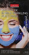 Düfte, Parfümerie und Kosmetik Mehrzweck-Blasenmaske mit Vitamin C, Guaiazulen, Zitronen- und, Blaubeerextrakt - Purederm Galaxy 2X Bubble Sparkling Multi Mask (gelb für die ölige T-Zone, violett für die trockene U-Zone)