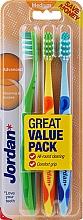 Düfte, Parfümerie und Kosmetik Zahnbürste mittel Advanced grün, orange-gelb, blau 3 St. - Jordan Advanced Medium Toothbrush