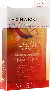 4-stufige Mango Delight Fußpflege - Voesh Deluxe Pedicure Mango Delight In A Box 4in1 (1. Meer Badesalz, 2. Zuckerpeeling, 3. Schlammmaske, 4. Massagebutter)(35g) — Bild N1