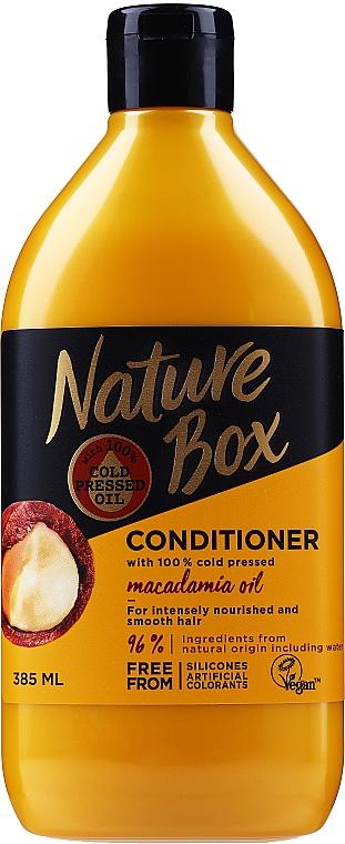 Pflegende feuchtigkeitsspendende und glättende Haarspülung mit Macadamiaöl - Nature Box Macadamia Oil — Bild N1