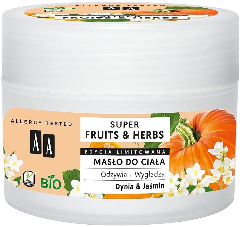 Belebende und glättende Körperbutter mit Kürbis und Jasmin - AA Super Fruits & Herbs Body Butter — Bild N1