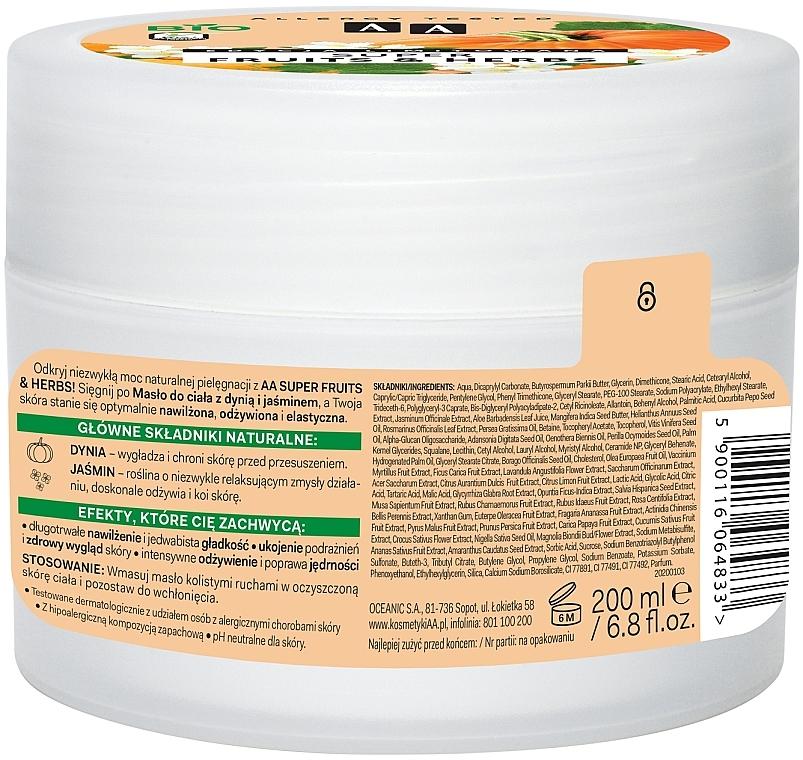 Belebende und glättende Körperbutter mit Kürbis und Jasmin - AA Super Fruits & Herbs Body Butter — Bild N2