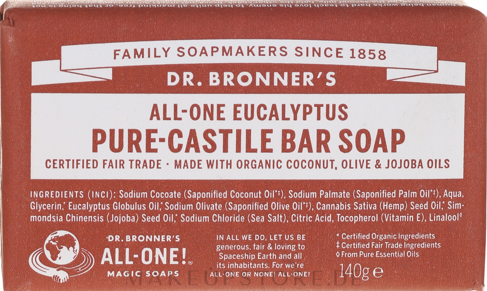 Seife mit Eukalyptus und Bio-Ölen - Dr. Bronner's Pure Castile Bar Soap Eucalyptus — Bild 140 g