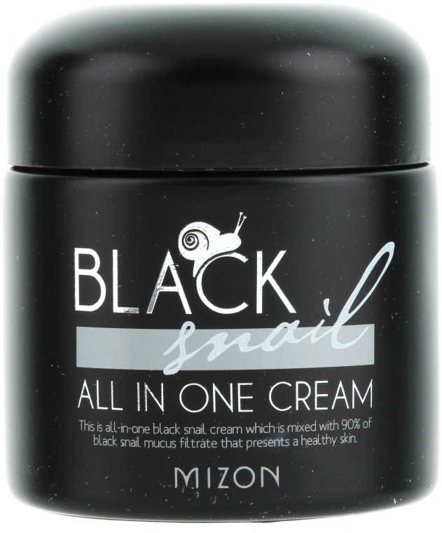 Feuchtigkeitsspendende, reparierende und porenverfeinernde Gesichtscreme mit schwarzem Schneckenfiltrat - Mizon Black Snail All In One Cream  — Bild N1