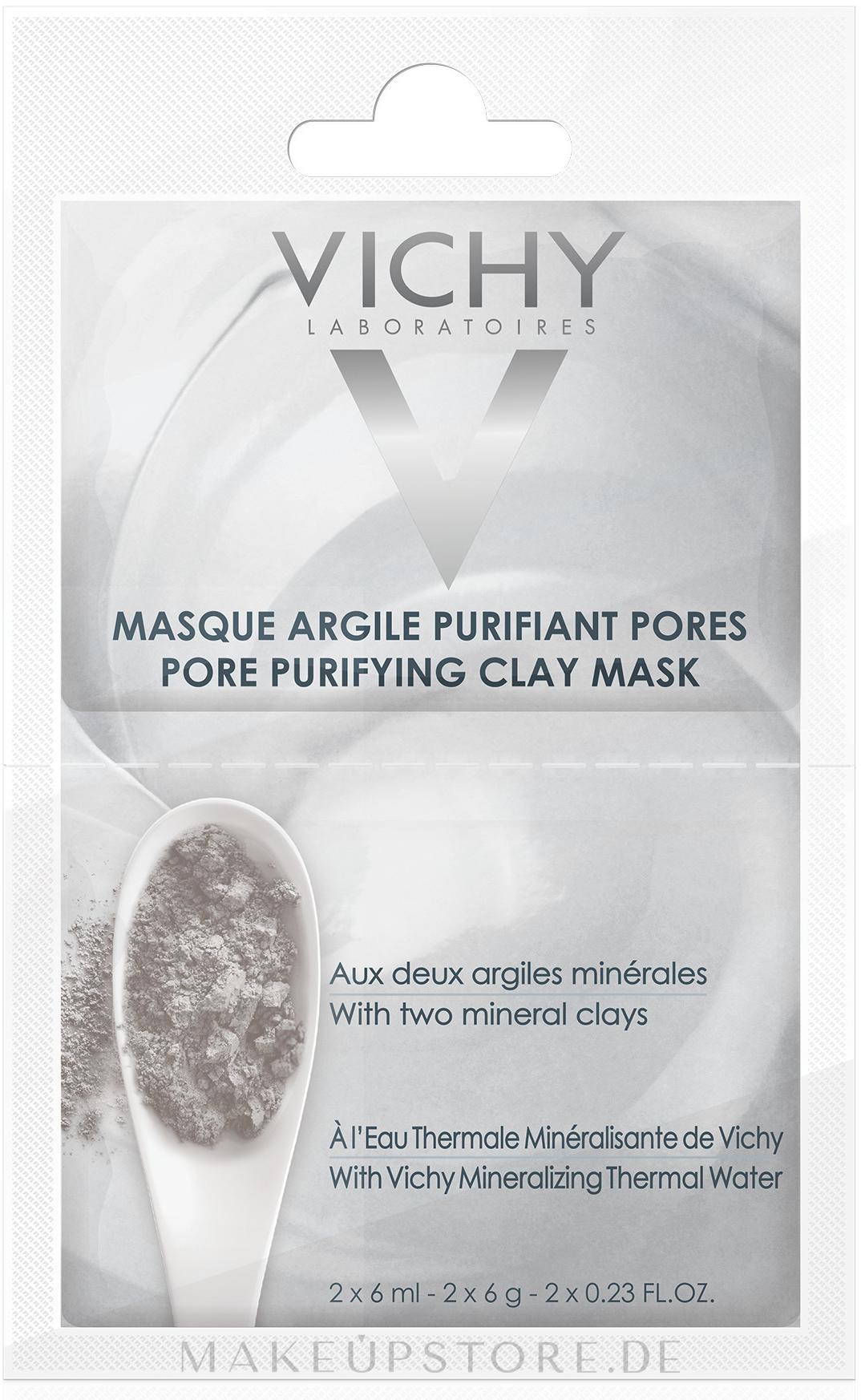 Porenreinigende Gesichtsmaske mit Bentonit, Ton und Thermalwasser - Vichy Mineral Pore Purifying Clay Mask Review — Bild 2x6 ml