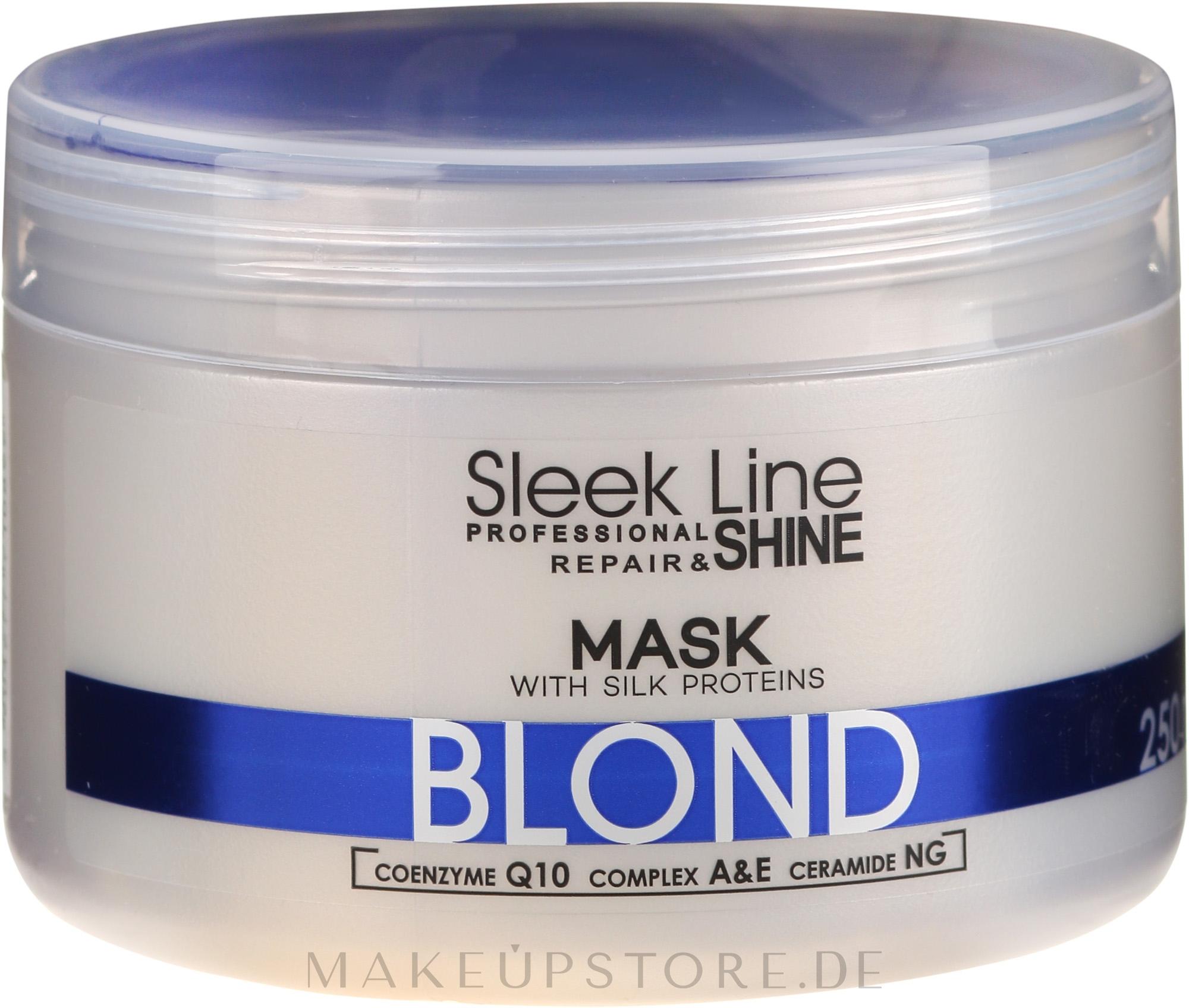 Reparatur- und Glanzmaske für blondes, graues und gebleichtes Haar - Stapiz Sleek Line Repair & Shine Blond Mask — Bild 250 ml