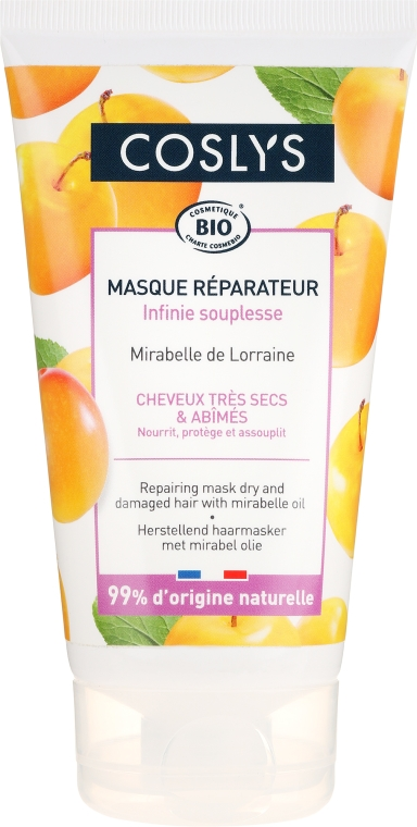 Regenerierende Bio Haarmaske mit Öl aus dem Mirabellenstein für trockenes und beschädigtes Haar - Coslys Hair Care Hair Repairing Maskwith Mirabelle — Bild N1