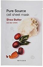 Düfte, Parfümerie und Kosmetik Pflegende Gesichtsmaske mit Sheabutter-Extrakt - Missha Pure Source Sheet Mask Shea Butter