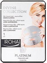 Feuchtigkeitsspendende Gesichtsmaske mit Platin, Hylaronsäure und Sauna-Effekt - Iroha Divine Collection Platinum & Hyaluronic Acid — Bild N1