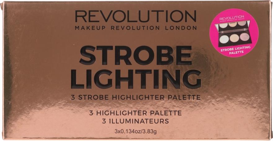 Highlighter-Palette - Makeup Revolution 3 Strobe Highlighter Palette — Bild N1