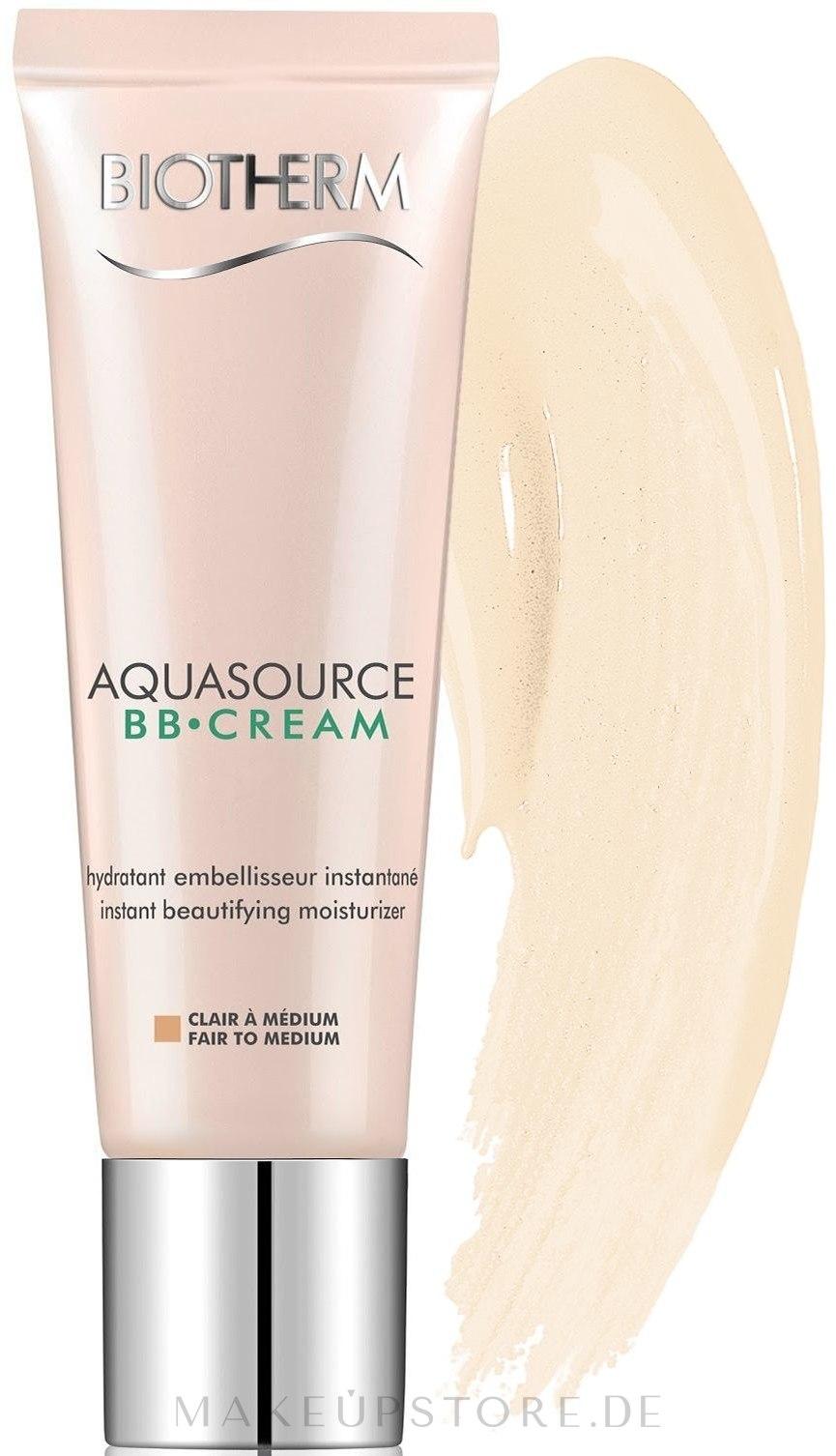 Feuchtigkeitsspendende BB Gesichtscreme LSF 15 - Biotherm Aquasource BB Cream SPF 15 — Bild Fair To Medium
