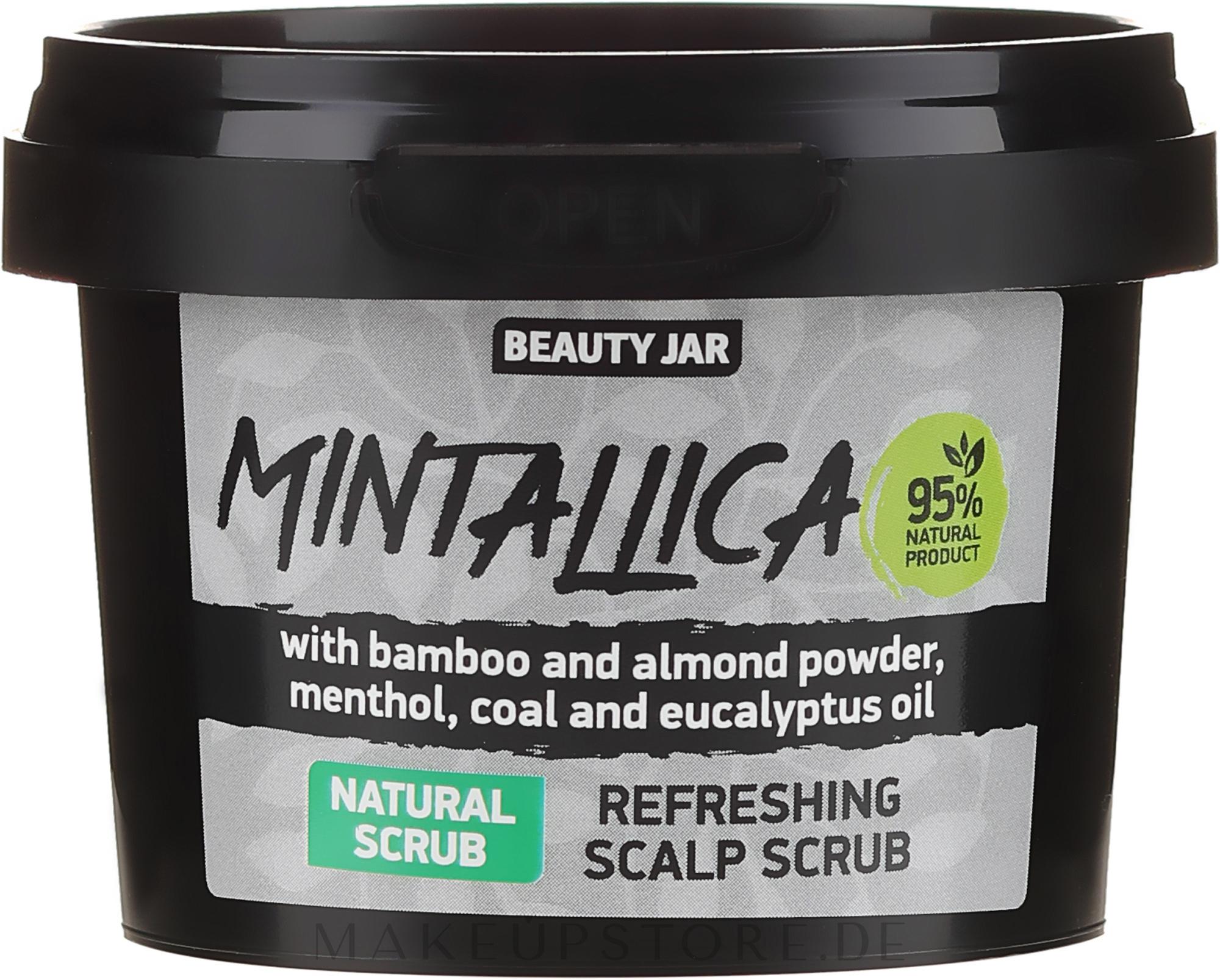 Erfrischendes Kopfhautpeeling mit Bambus- und Mandelpulver, Menthol, Aktivkohle und Eukalyptusöl - Beauty Jar Mintallica Refreshing Scalp Scrub — Bild 100 g