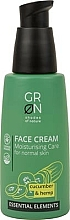 Düfte, Parfümerie und Kosmetik Feuchtigkeitsspendende Gesichtscreme mit Gurke und Hanf für normale Haut - GRN Essential Elements Cucumber & Hemp Face Cream