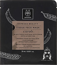 Entgiftende und reinigende Tuchmaske mit Johannisbrot - Apivita Express Beauty Tissue Face Mask Carob — Bild N1