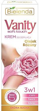 3in1 Enthaarungscreme für Körper, Gesicht und Bikinizone mit Rosenöl - Bielenda Vanity Soft Touch Depilatory Cream for Dry Skin — Bild N1