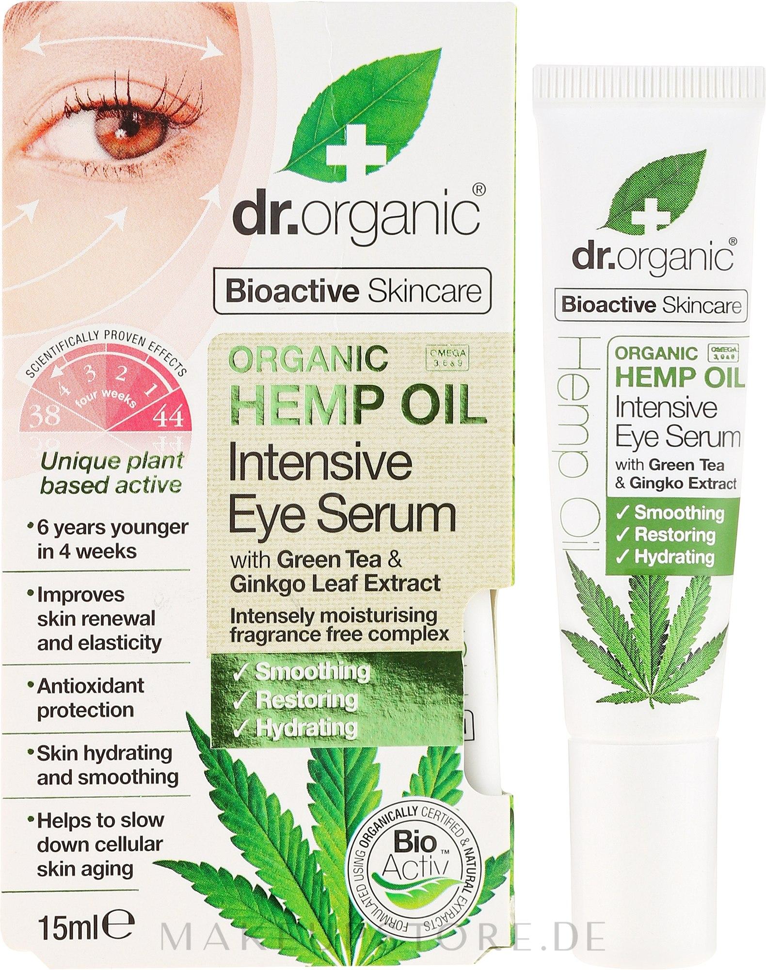 Intensives Augenserum mit Hanföl - Dr. Organic Bioactive Skincare Hemp Oil Intensive Eye Serum — Bild 15 ml