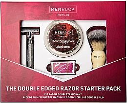 Düfte, Parfümerie und Kosmetik Rasierset - Men Rock Double Edged Razor Starter Pack Black Pomegranate (Klassischer Rasierer + Rasierbürste + Rasierklingen 5 St. + Rasiercreme 100ml)