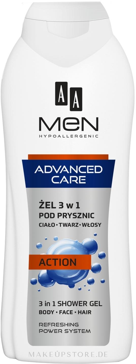 3in1 Duschgel für Körper, Gesicht und Haar Action - AA Men Advanced Care 3 in 1 Shower Gel Action — Bild 400 ml