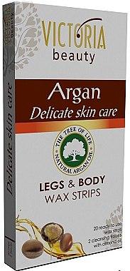 Wachsstreifen zur Körper- und Fußenthaarung mit Arganöl - Victoria Beauty Delicate Skin Care Legs & Body Waxing Strips Argan — Bild N1