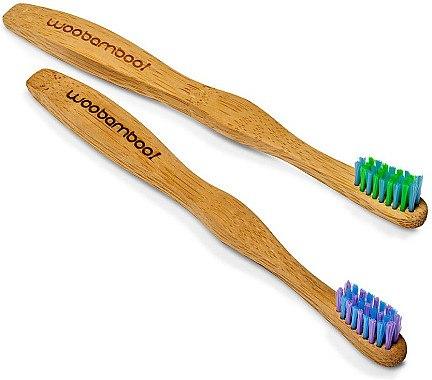 Bambuszahnbürste für Kinder lila, grün 2 St. - WooBamboo Kid's Toothbrush — Bild N2