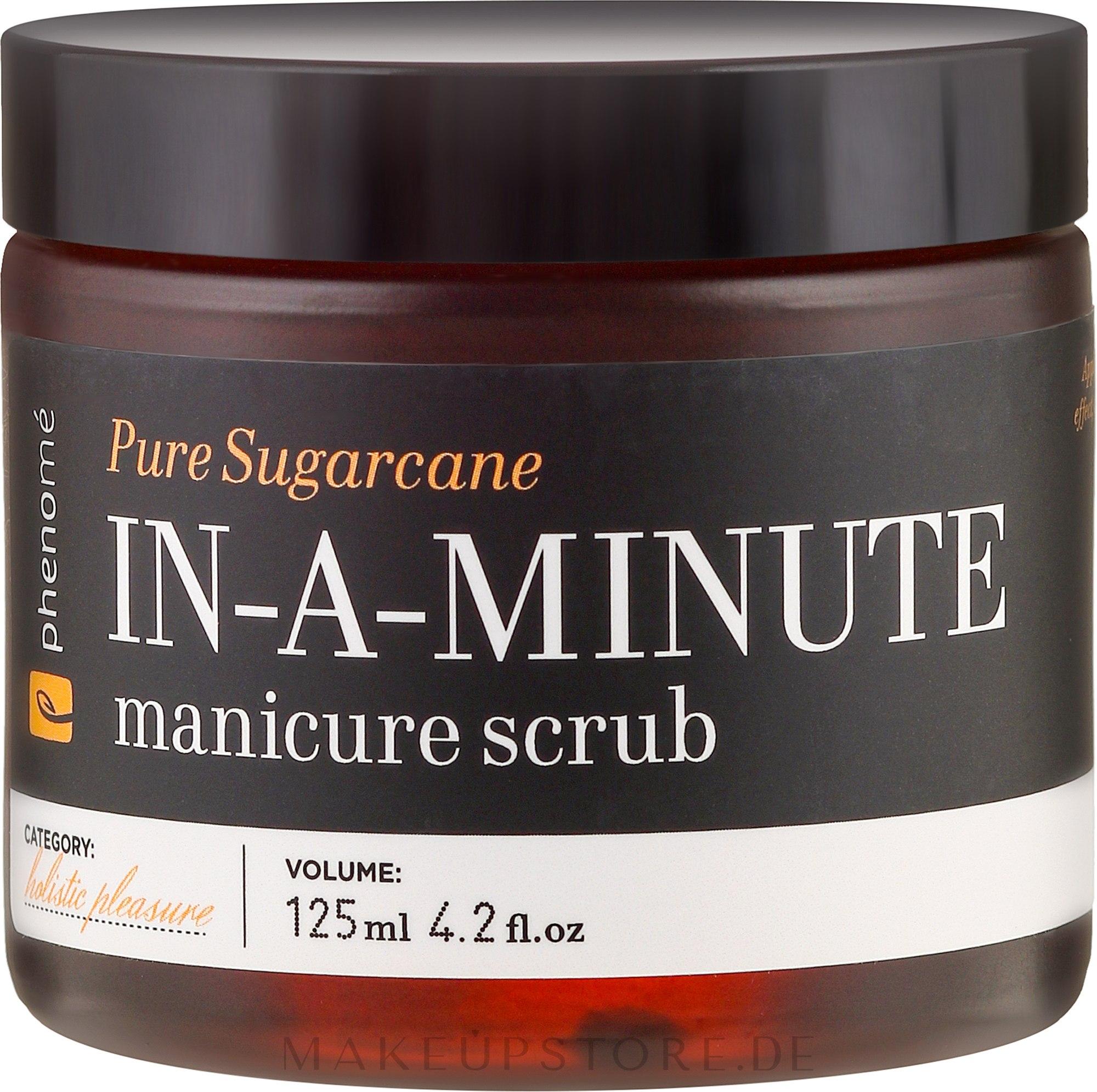 Handpeeling mit Mandel- und Macadamiaöl - Phenome Pure Sugarcane In-A-Minute Manicure Scrub — Bild 125 ml