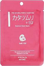 Düfte, Parfümerie und Kosmetik Tuchmaske für das Gesicht mit Schneckenextrakt + EGF - Mitomo Essence Sheet Mask Snail + EGF