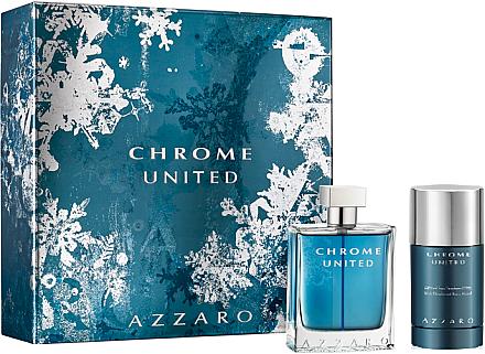 Azzaro Chrome United - Kosmetikset (Eau de Toilette/50ml + Deodorant Stick/75ml) — Bild N1