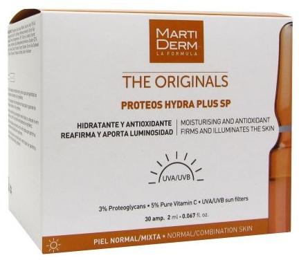 Feuchtigkeitsspendende, antioxidative, straffende und aufhellende Gesichtsampullen mit UV-Schutz - MartiDerm The Originals Proteos Hydra Plus SP — Bild N1
