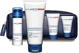 Düfte, Parfümerie und Kosmetik Set - Clarins Men ( h/cr/12ml + balm/50ml + wash/gel/30 ml + sh/gel/200ml + bag)
