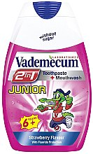 Düfte, Parfümerie und Kosmetik 2in1 Kinderzahnpasta und Mundspülung 6+ Jahre mit Erdbeergeschmack - Vademecum Junior 2in1 Toothpaste + Mouthwash