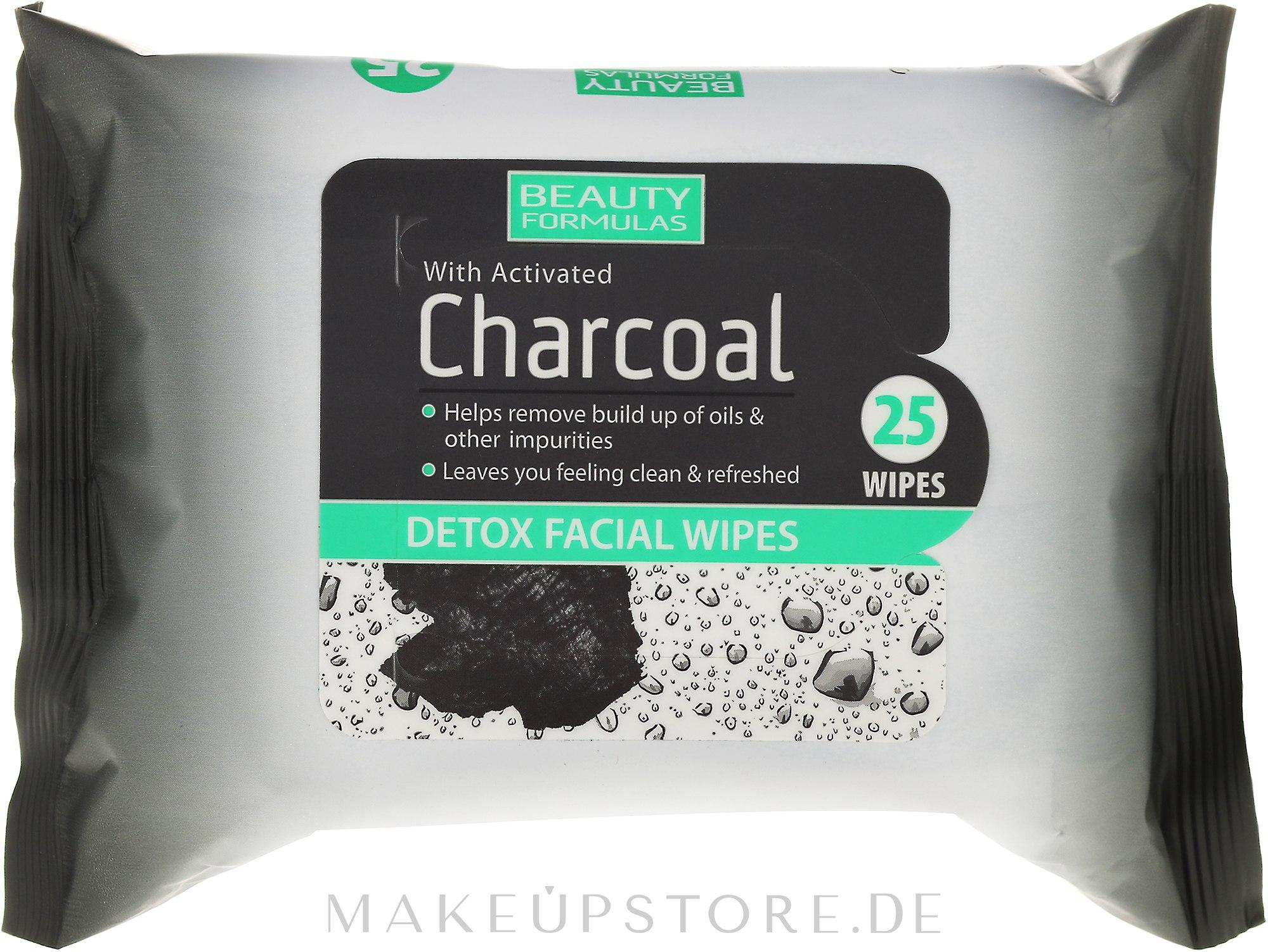 Erfrischende Detox-Gesichtstücher mit Aktivkohle - Beauty Formulas Charcoal Detox Facical Wipes — Bild 25 St..